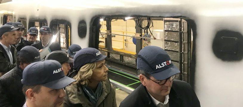 Valérie Pécresse en visite sur le site Alstom de Reichshoffen, dans le Bas-Rhin, le 4 septembre 2019.