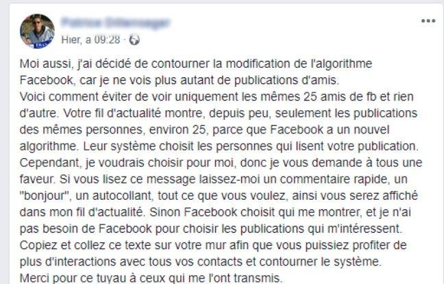 L'intox populaire sur Facebook à propos d'une prétendue limitation du fil d'actualité.