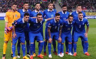 L'équipe de Grèce lors de son match contre la Hongrie, le 29 mars 2015, à Budapest.