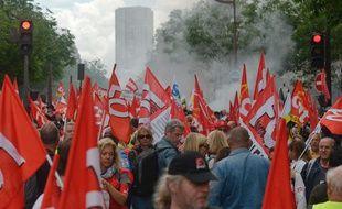 Les manifestants contre la loi Travail à Paris, le 14 juin 2016.