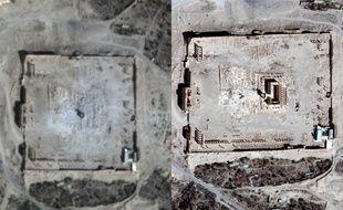 A gauche, Palmyre détruit par Daesh ; à droite, le même site quatre jours avant.