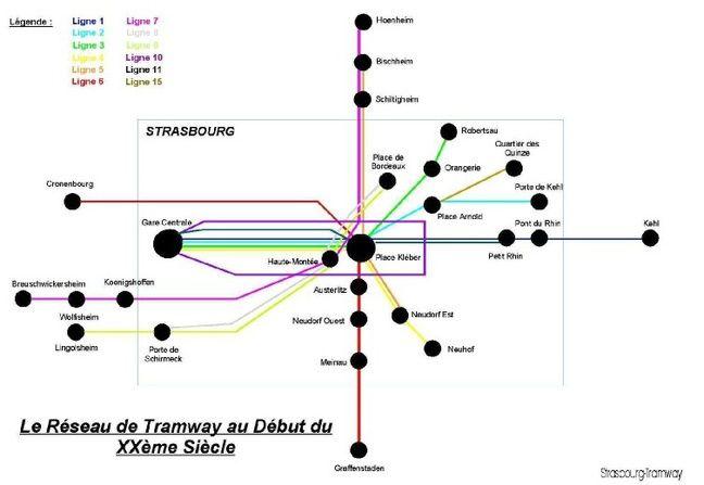 Le schéma du réseau strasbourgeois historique de tram, au début du siècle dernier. Strasbourg-tramway.fr