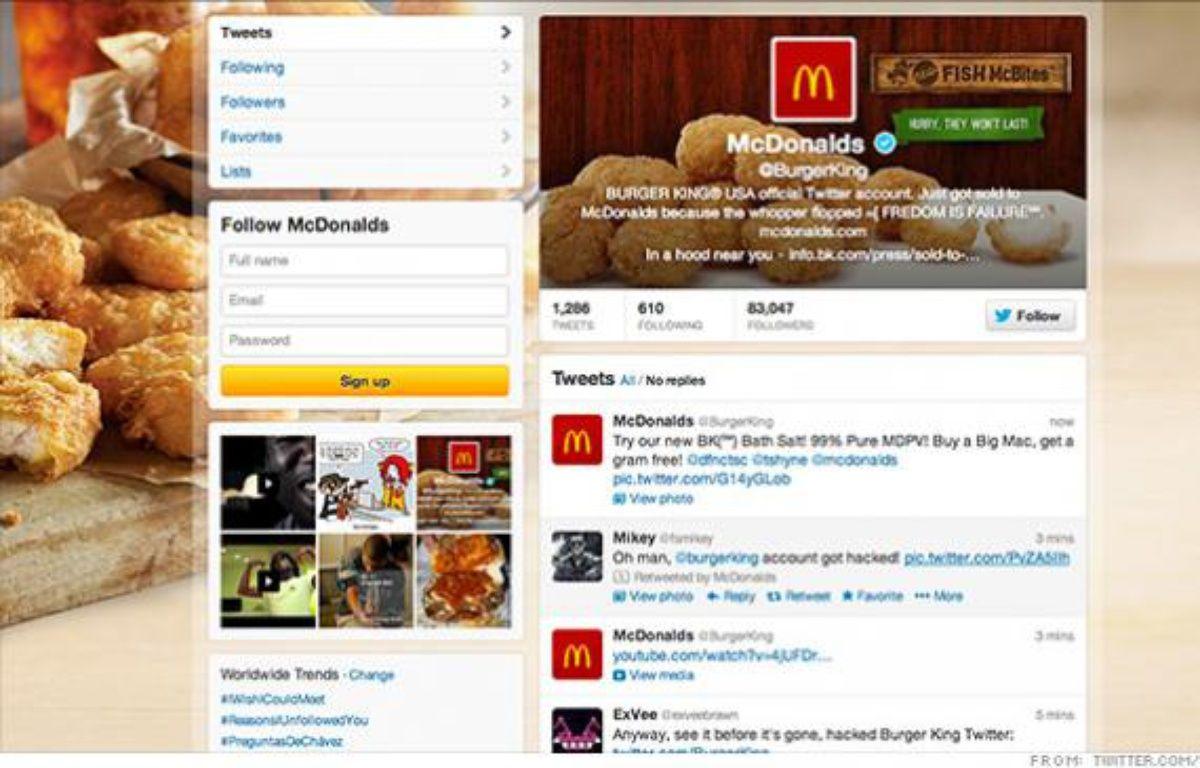 Le compte Twitter de Burger King a été piraté aux couleurs de McDonald's le 18 février 2013. – DR