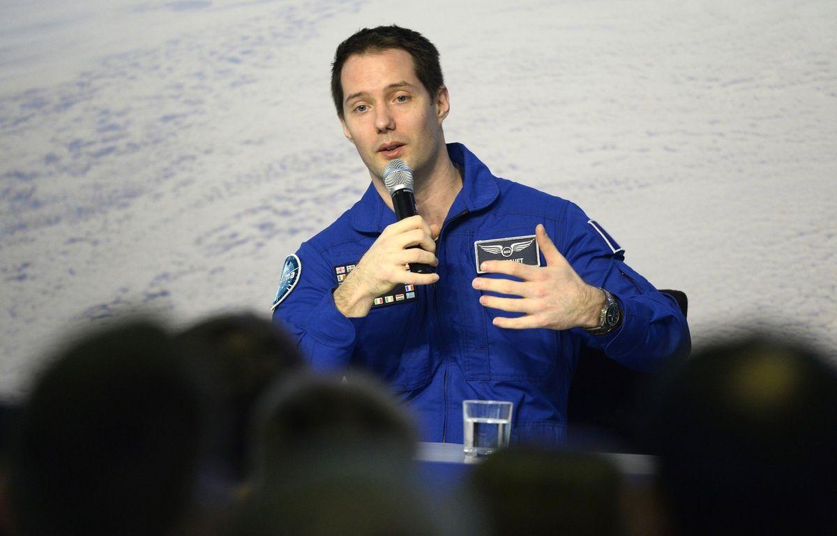 L'astronaute Thomas Pesquet, le 6 juin en direct du centre de l'Agense spatiale européenne, à Cologne.  – Roberto Pfeil / afp