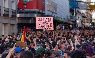 Manifestation qui a eu lieu à Madrid pour dénoncer la mort de Samuel Luiz, ce samedi.