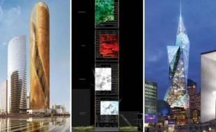 De gauche à droite, les projets pour la tour Signal de la Défense de Norman Foster, Jean Nouvel et David Libeskind.