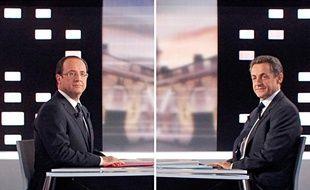 François Hollande et Nicolas Sarkozy, lors du débat de l'entre-deux tours, le 2 mai 2012.