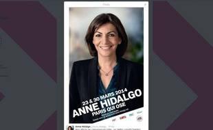 L'affiche de campagne d'Anne Hidalgo, candidate PS à la Mairie de Paris.