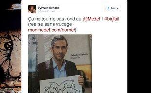Capture d'écran d'un tweet d'un internaute se moquant de la nouvelle campagne du Medef.
