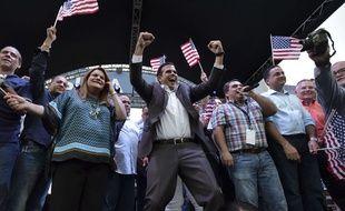 Le gouverneur Ricardo Rossello célèbre les résultats du référendum, le 11 juin 2017 à San Juan.