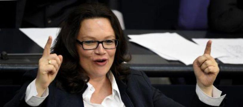 L'ancienne ministre du Travail allemande Andrea Nahles vient de prendre la tête du SPD. Ici en mai 2015.