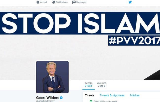 Capture d'écran du compte Twitter de Geert Wilders.