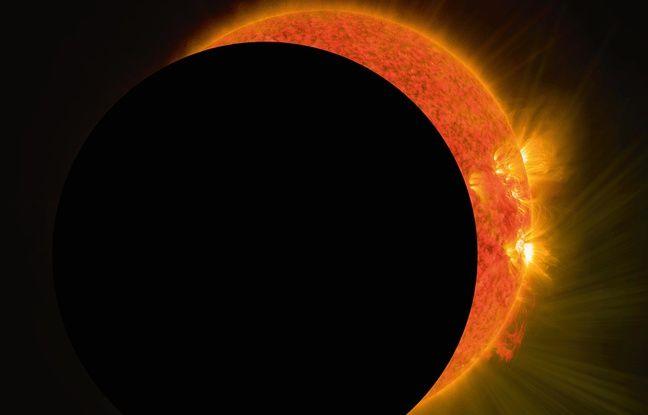 Illustration: une éclipse partielle de soleil vue avec du matériel d'astronomie.