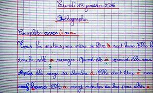 Un test d'orthographe à l'école (illustration).