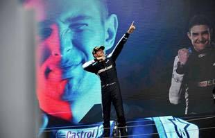 Le Français Esteban Ocon (Alpine F1) sur le podium du Grand Prix de Hongrie, à Budapest, le 1er août 2021.