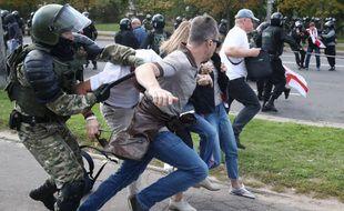Lors de la manifestation de ce dimanche, à Minsk.