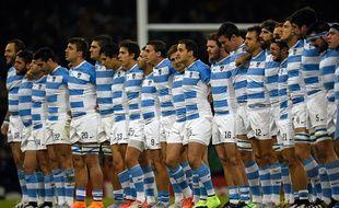 L'équipe d'Argentine avant son match contre l'Irlande le 18 octobre 2015 à Cardiff.