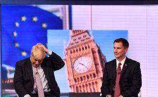 Boris Johnson et Jeremy Hunt lors d'un débat diffusé par  la BBC, le 18 juin 2019.