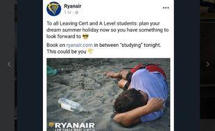 Le post de Ryanair invitant les étudiants à partir en vacances et à finir comme ça...