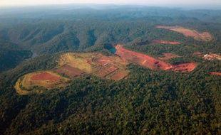 Vue aérienne sur une mine à ciel ouvert appartenant au géant minier brésilien Vale dans l'Etat de Para au Brésil, le 6 août 2013