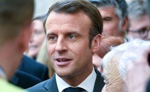 Le président de la République, Emmanuel Macron, lors de la fête du travail à l'Elysée le mercredi 1er mai 2019.