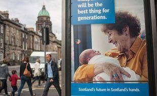 Publicité pour l'indépendance en vue du référendum sur l'autodétermination en Ecosse, le 20 août 2014  à Edimbourg.