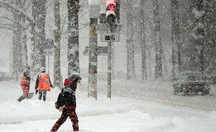 De fortes chutes de neige ont eu lieu en Crimée, ici à Simferopol, le 13 février 2021.