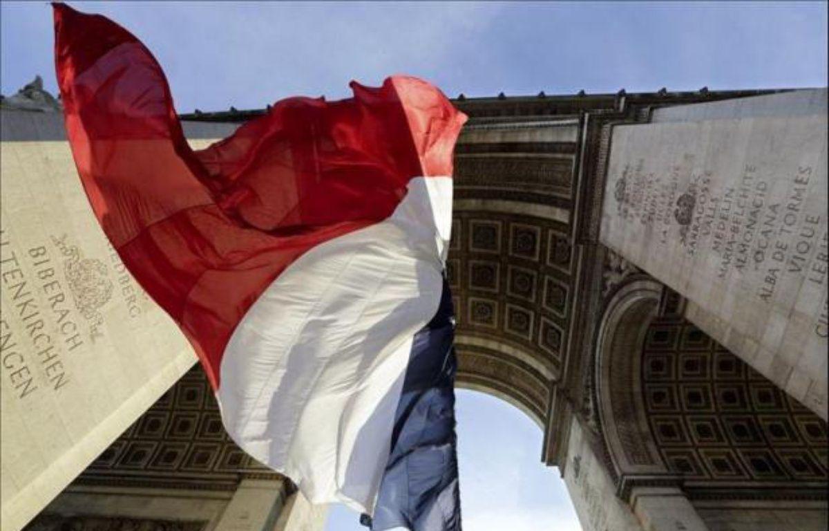 Le drapeau français sous l'Arc de Triomphe à Paris, le 11 novembre 2013. – Philippe Wojazer Pool
