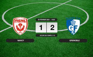 Ligue 2, 26ème journée: 1-2 pour Grenoble contre Nancy au stade Marcel-Picot