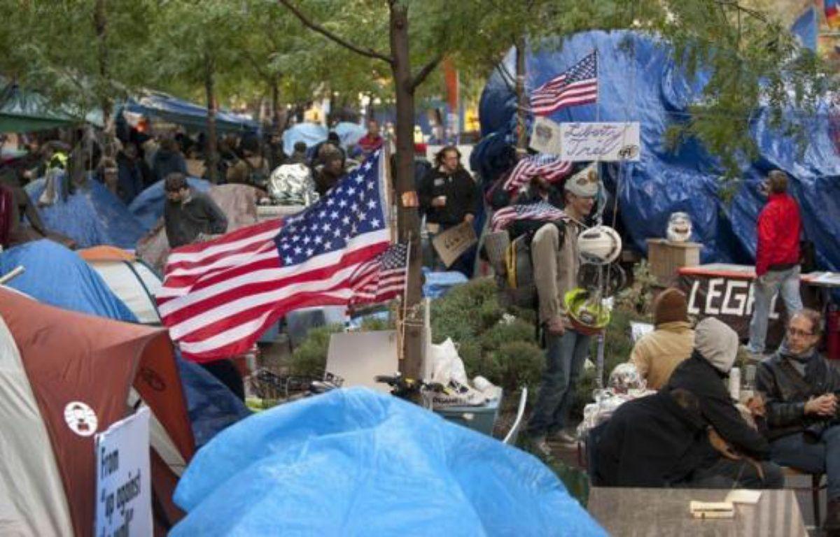 Le 24 octobre, les militants d'Occupy Wall Street, qui campent toujours sur le square Zuccotti près de Wall Street à New York, ont donc décidé de faire une demande de marque déposée auprès de l'Agence gouvernementale des marques et brevets. – Don Emmert afp.com