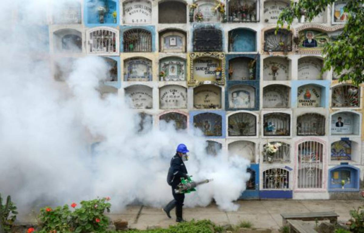 Un homme vaporise un produit anti-moustique aux abords de Lima, le 15 janvier 2016 – ERNESTO BENAVIDES AFP