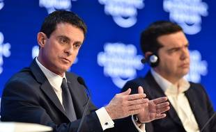 Le Premier ministre Manuel Valls et son homologue grec Alexis Tsipras lors du World Economic Forum (WEF) à Davos, le 21 janvier 2016.