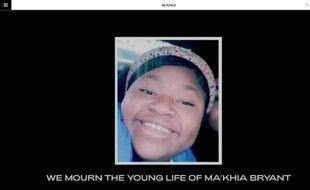 Capture d'écran du site de la chanteuse Beyoncé rendant hommage à la jeune Ma'Khia Bryant de 16 ans, abattue par la police