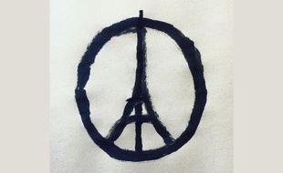 Le dessin «Peace for Paris» a été réalisé après les attentats du 13 novembre 2015 par l'artiste français Jean Jullien.