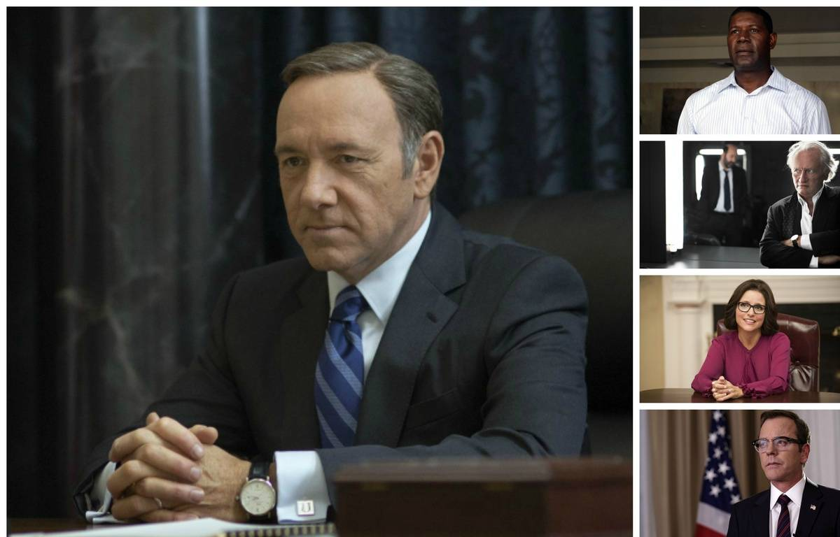 Francis Underwood (Kevin Spacey),  David Palmer (Dennis Haysbert), Francis Laugier (Niels Arestrup), Selina Meyer (Julia Louis-Dreyfus) et Tom Kirkman (Kiefer Sutherland). – Netflix/ Twentieth Century Fox Film Corp/ Canal+/Jean-Claude Lother/Lacey Terrel/HBO/ABC/Ben Mark Holzberg