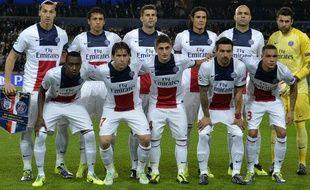 Les joueurs du PSG le 23 octobre 2013 à Bruxelles, avant un match de Ligue des champions contre Anderlecht.