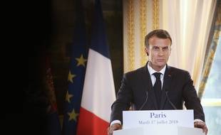 Emmanuel Macron lors d'une conférence à l'Elysée, le 17 juillet 2018.