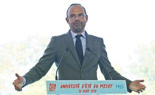Edouard Philippe à l'université d'été du Medef à Jouy-en-Josas (Yvelines), le 28 août 2019.