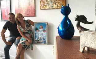 Dominique Galy et Laure Villatte, dans leur galerie d'art de l'Ariane.