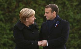 Emmanuel Macron et Angela Merkel, le 11 novembre 20178 à Rethondes dans l'Oise.
