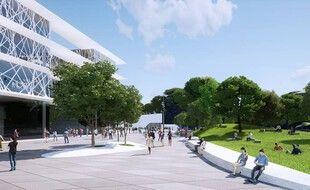 La place de la Voie Domitienne sera l'une des grandes places sur le tracé de la ligne 5 du tramway