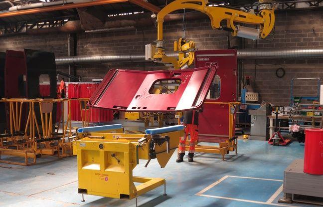 Atelier de rénovation de portes, en l'occurrence d'un Thalys, au Technicentre industriel de Lille-Hellemmes.