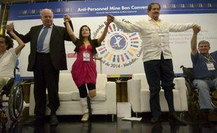 Le secrétaire général de l'OEA José Miguel Insulza (deuxième à gauche), la Colombienne Angela Ruales et le vice-président colombien Angelino Garzon à Medellin le 4 avril 2014