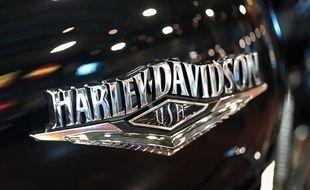 Le logo de la marque Harley-Davidson sur une moto (image d'illustration).