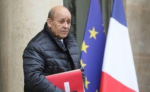 Jean-Yves Le Drian quittant l'Elysée, le 11 décembre 2019