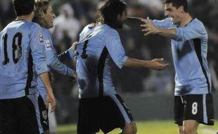 L'équipe d'Uruguay célébre un but contre le Pérou.