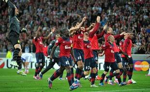 Le Losc célèbre sa qualification pour la pahse de poule de la Ligue des champions, 29 août 2012, à Villeneuve d'Ascq.