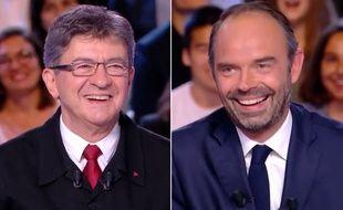 Jean-Luc Mélenchon et Edouard Philippe sur le plateau de «L'Emission politique» sur France 2, le 28 septembre 2017 (photomontage).
