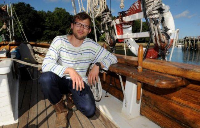 Guillaume Le Grand, fondateur de la Towt le 22 août 2016 à Douarnenez, à bord du Lund II, l'un des vieux gréements qu'il affrète pour du transport de marchandises.