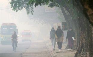 Des Indonésiens portent des masques contre la pollution de l'air à Pelmbang, au Sud Sumatra le 8 octobre 2015